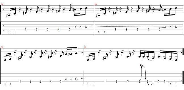 get the funk out riff pre solo