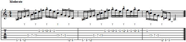 A Major 7th Tapping Arpeggio in the Style of Michael Romeo -- Lead Guitar Lesson