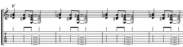 blues comping over a 12 bar chord progression in the key of e. Black Bedroom Furniture Sets. Home Design Ideas