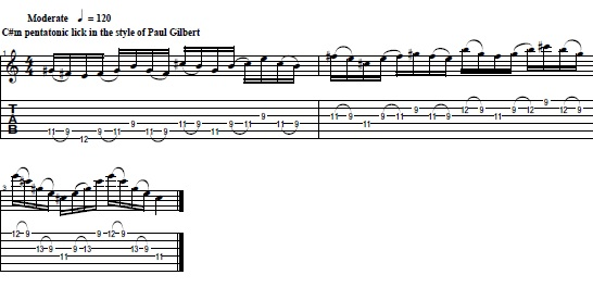 Cool C#m Pentatonic Lick in the Style of Paul Gilbert - Lead Guitar Lesson