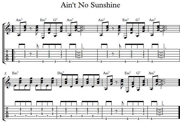 How To Play Aint No Sunshine By Bill Withers