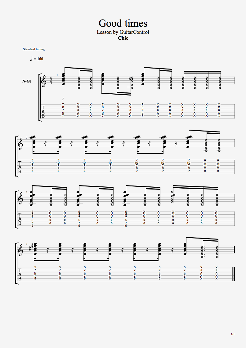 Funk Guitar Lesson On How To Play Good Times By Chic