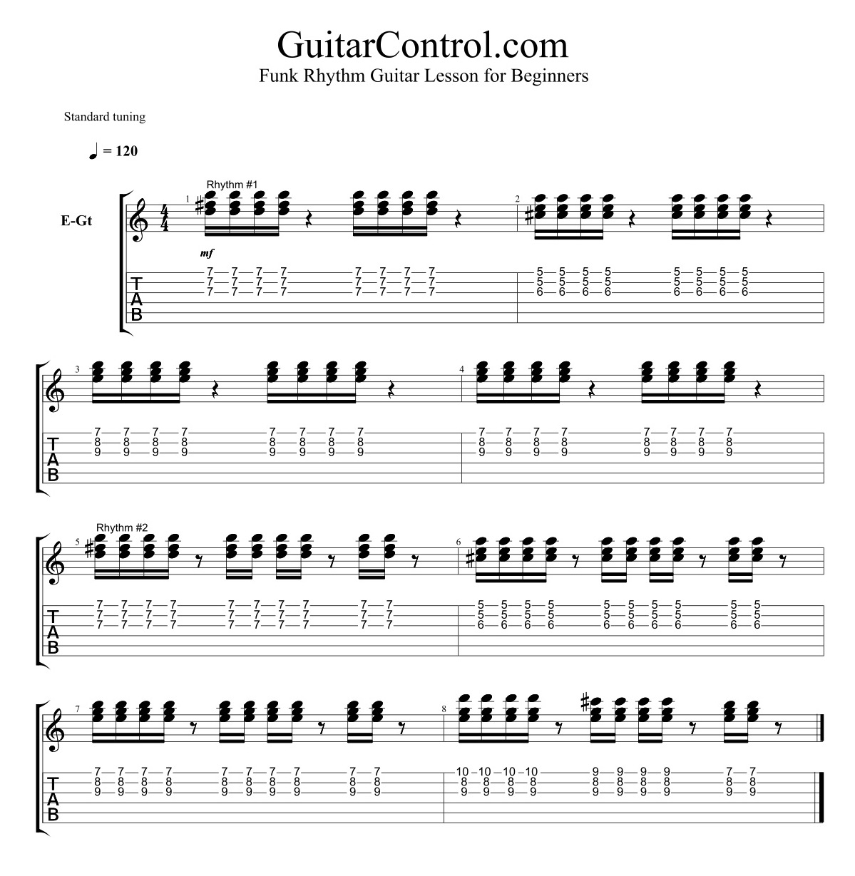 Funk Rhythm Guitar Lesson For
