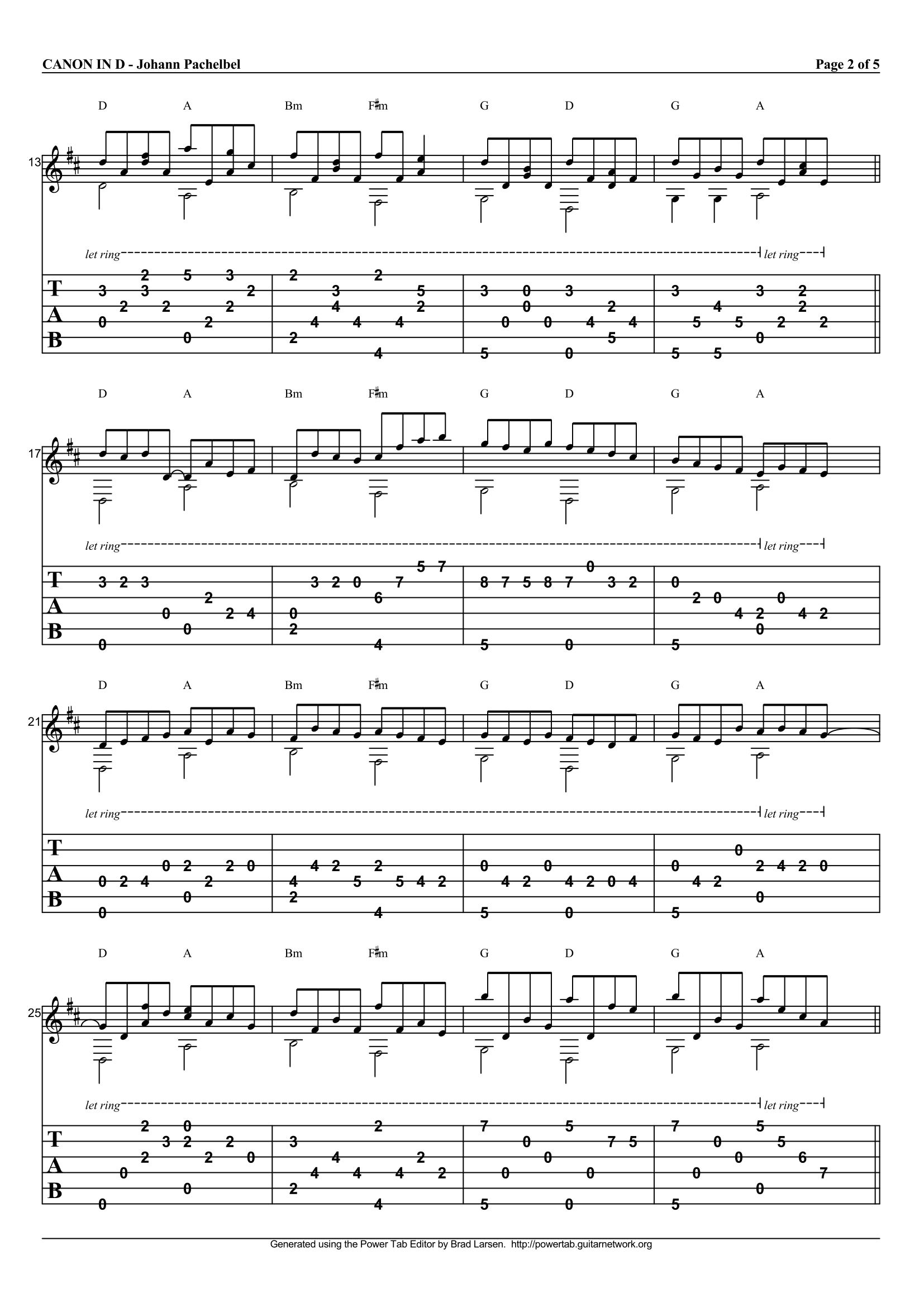 Pachelbels Canon In D Guitar Tab
