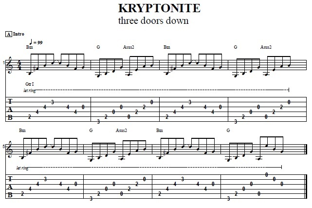 How To Play The Intro From Kryptonite By 3 Doors Down - Easy